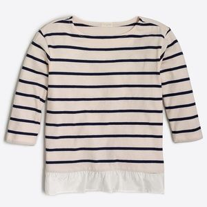 Girls' three-quarter sleeve striped ruffle-hem T-s